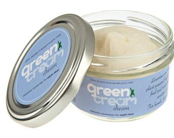 100% natural organic night cream - Green Cream Dream moisturiser 100ml - with Lavender & Chamomile. Plastic free, vegan. Made in UK