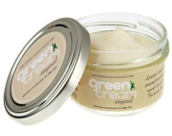 100% natural organic day cream - Green Cream Original moisturiser 100ml. Intensive dry skin treatment. Plastic free, vegan. Made in UK
