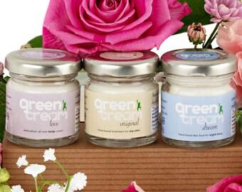 Green Cream moisturiser gift set - 100% organic, natural face and body creams - Plastic free, vegan. Made in UK