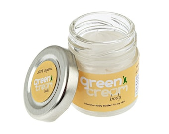 100% natural organic body butter - Green Cream Body Butter 25ml. Intensive dry skin relief. Plastic free, vegan - Made in UK