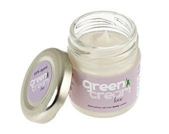 100% natural organic scented body cream - Green Cream Love 25ml - with Frankincense, Jasmine & Rose. Made in UK