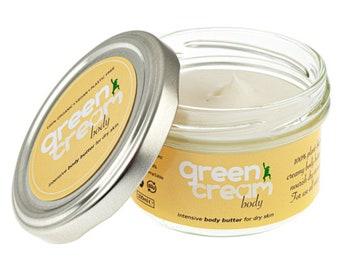 100% natural organic body butter - Green Cream Body Butter 100ml. Intensive dry skin relief. Plastic free, vegan. Made in UK