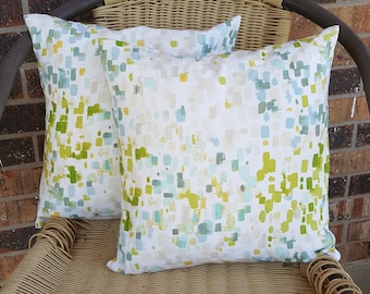 SALE *Blues and Greens Watercolor 14x14 Pillow Covers
