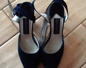 fe5094f763bf4f Vintage Colin Stuart Black suede High Heel ankle strap shoes 3 in very good  size 7