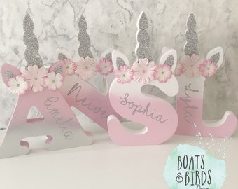 Free Standing Unicorn Letter Initial Gifts for Girls Bedroom ...