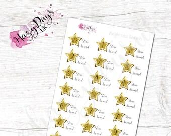 Weight Loss Reward Planner Stickers - Gold Star, Acheivement Stickers