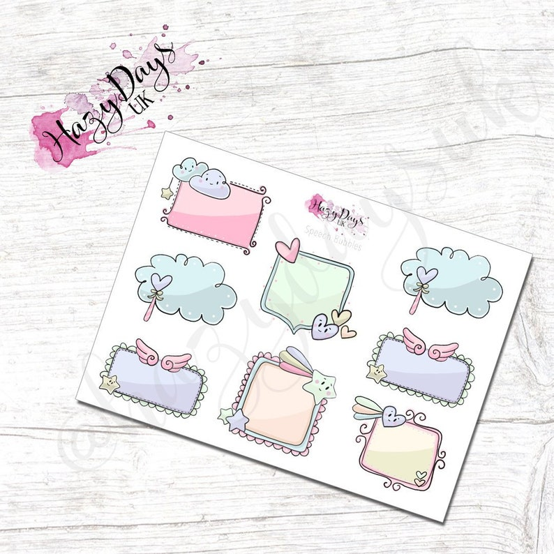 Speech Bubbles  Cute Doodle Sticky Notes Pastel Planner image 0