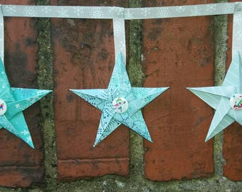Paper star bunting, paper bunting, festive bunting, home decor, room decor, buttons, winter