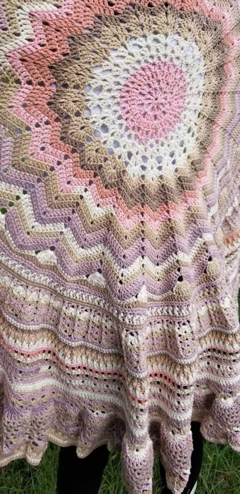 Handmade Large Crochet Throw Blanket in Lavender Rose and neutral tones soft and elegant design Gift for for her  Ready to ship