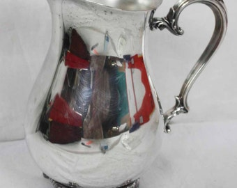 Vintage Silver Plate Large Ice Water Iced Tea Pitcher With Ice Shelf WM Rogers