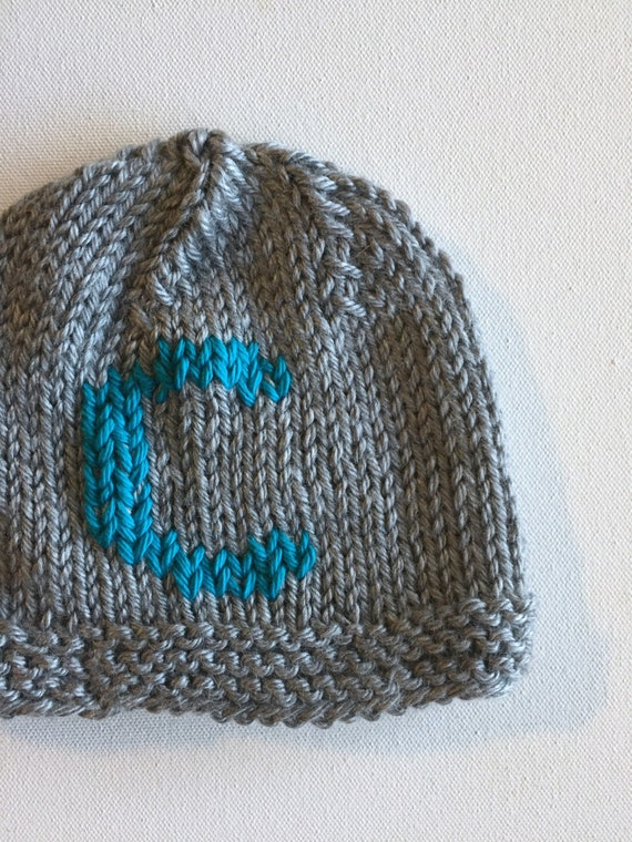 Monogram baby hat Baby Beanie with Blue monogram coming home  c1820d3af052