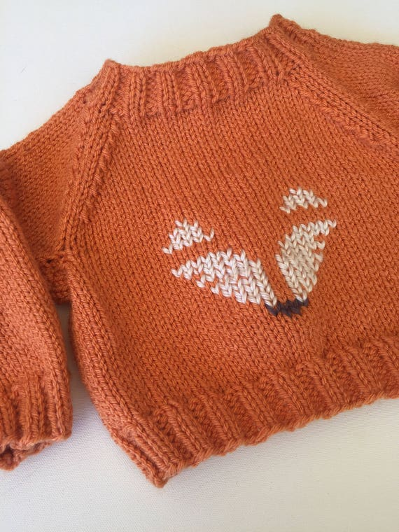 c36d7f8b3 Fox Baby Sweater Hand Knit in sizes 3-12 months available