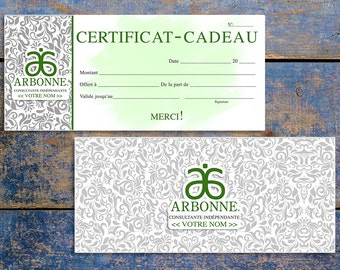 Certificat-Cadeau Arbonne - Arbonne Inspired Gift Certificate - FRENCH - Digital Download - Printable Gift Certificate