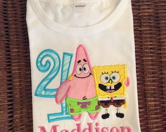 8666c4ae13 Spongebob and Patrick Birthday Birthday Shirt Or Bodysuit - Ages 1-6