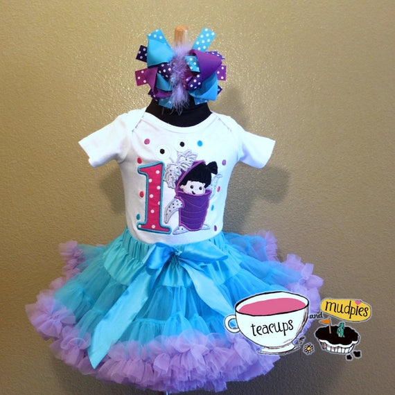 d3ee1f7db 3 Pc Monsters Inc Boo Birthday Pettiskirt Set and Bow Ages