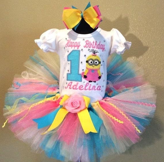8732706e297e 3 Pc Girls Pastel Minion Birthday Tutu Set and Bow On Headband