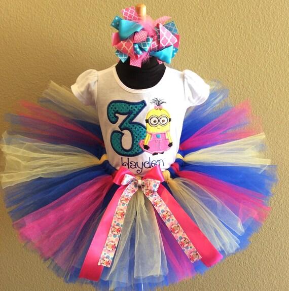 6f3722f7968c 3 Pc Girls Minion Pink Blue and Yellow Birthday Tutu Set and