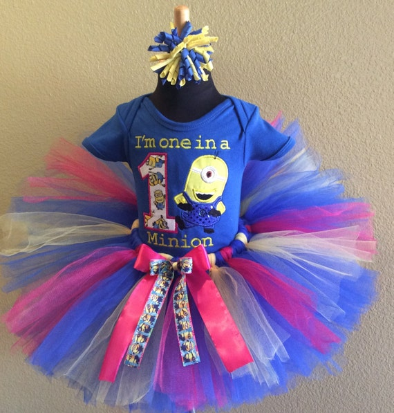 d68adfff0 3 Pc Minion Despicable Me Blue Birthday Tutu Set and Bow On