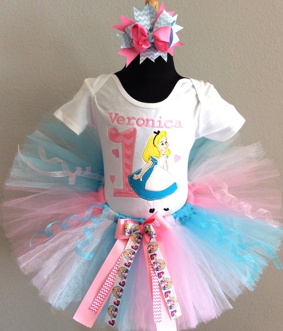 5cfbd580e06d 3 Pc Alice In Wonderland Pink and Blue Tutu Set and Bow On