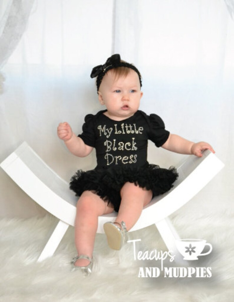 680a44b26406 Baby Girl My Little Black Dress With Rhinestones and Matching | Etsy