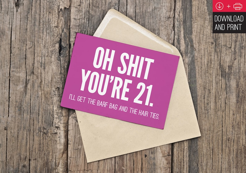 21st Birthday Card Funny INSTANT DOWNLOAD