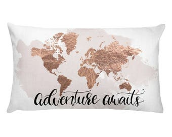 Travel quote pillow etsy travel gift throw pillow decorative pillow pillow travel quote world map pillow travel decor accent pillow adventure awaits travel gumiabroncs Choice Image