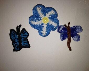 Set of 3 Crocheted  Fridge magnets