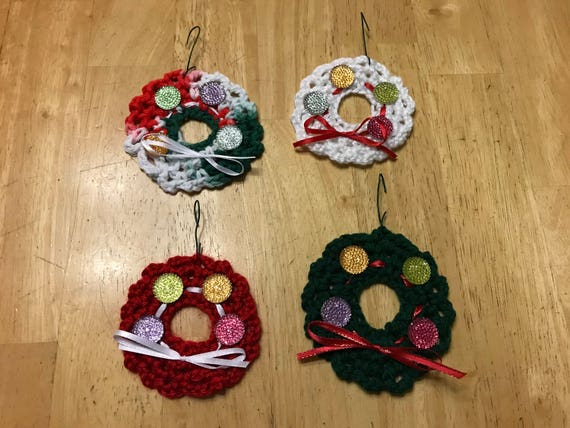 Handmade Crocheted Christmas Wreath Ornaments Set Of 4 Etsy