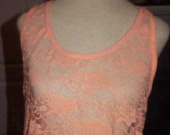 SALE Vintage Peach Lace Sheer Tank Top Plus Size 2X