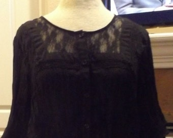 SALE Womens Black Sheer Lace Trimmed Crinkle Blouse Shirt Large