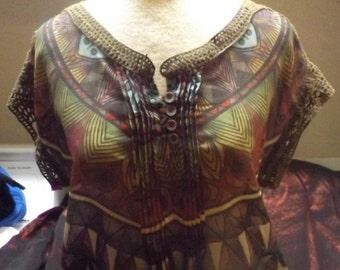 SALE Gypsy Boho Sheer Brown Print Blouse XS