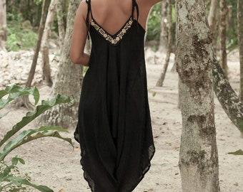 Black Artisanal Cotton Jumpsuits