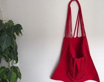 Red Tote Bag, Beach Bag, Lap Top Bag