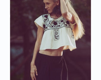 Earthy White Cotton Crop Tops