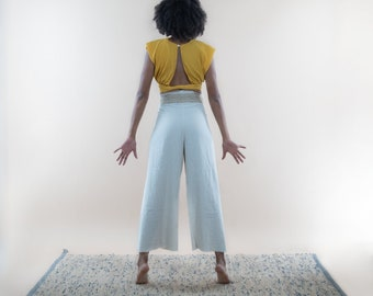 Wide Raw Hemp and Linen trousers