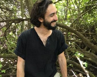 Organic Cotton Guayabera Black Shirt