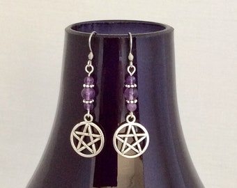 Amethyst crystal earrings with pentagram drop stone of spirituality protection energy earth fire air water spirit elements innermost peace