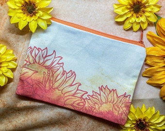 """Sunflower Zipper Pouch 7"""" x 5"""""""