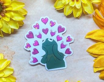 Kermit Heart Emoji Transparent Sticker