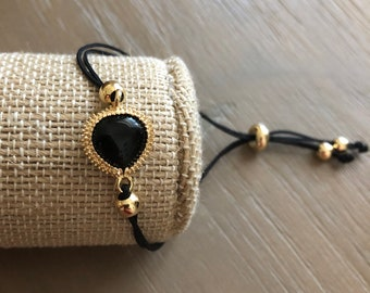 Black Cord Bracelet with 18k Gold Filled Charm