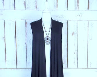 Plus size black unisex stretch jersey knit long duster cardigan vest oversized  asymetric high low sleeveless duster sweater 2x 3x 22 24 plus f3f60e008