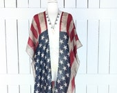 USA American flag print sheer gauzy kimono tassel cardigan cover up USA Fourth of July Memorial Day United States flag top sml plus one size