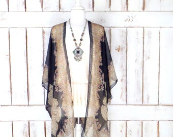Black/tan tribal bohemian print sheer silk kimono cardigan/paisley floral cover up blouse/gypsy festival top/LIMITED EDITION