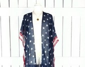 American USA flag print sheer gauzy kimono cardigan cover up USA Fourth of July Memorial Day United States flag top duster sml plus one size