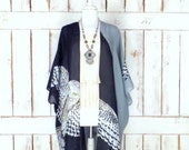 Handmade owl print sheer gauzy kimono cardigan color block bird print lightweight sheer cover up black grey festival top sml plus one size