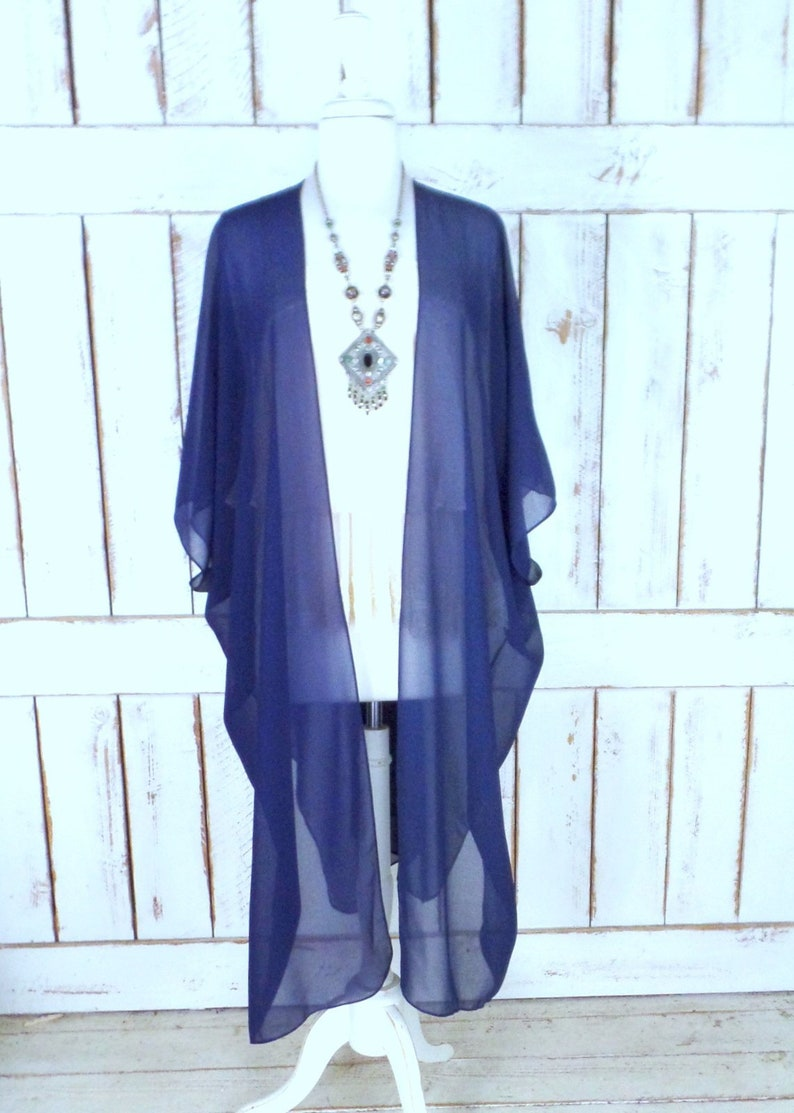 7c144c1ae5 Dark blue sheer chiffon kimono cardigan/navy blue cover up | Etsy