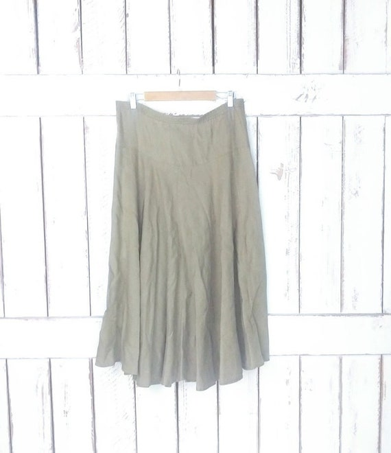 Vintage 90s long linen flowy skirt/beige tan brown