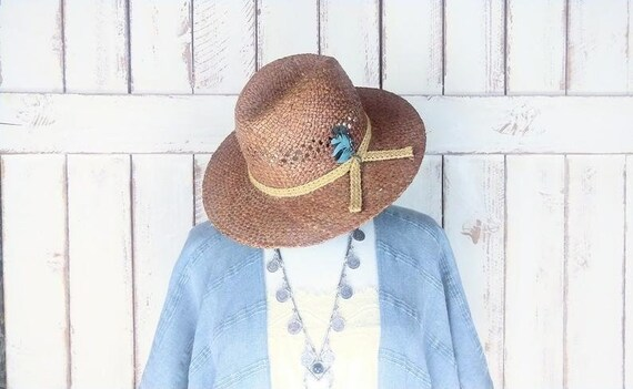 Vintage 90s brown natural straw summer fedora hat… - image 1