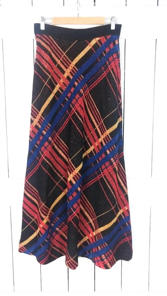 Vintage striped metallic stretch knit maxi skirt/… - image 2