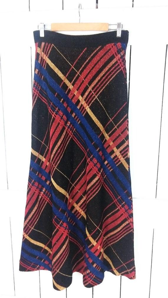Vintage striped metallic stretch knit maxi skirt/… - image 4